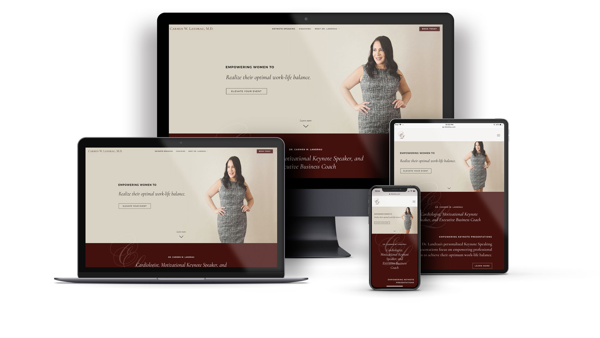 Whiskey and Red Small Business Branding and Website Design Packages - Web desktop ipad iphone Mockup for Dr Carmen Landrau - motivational keynote speaker