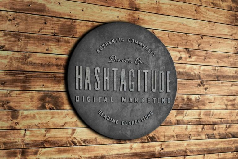 Whiskey and Red Small Business Branding and Logo Design Packages - Brand Sign Mockup for Hashtagitude Digital Marketing - Denver, Colorado