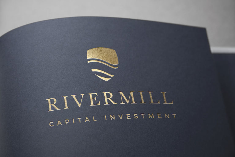 Whiskey and Red Small Business Branding and Logo Design Packages - Brand secondary logo print collateral gold foil Mockup for Rivermill Capital Investment