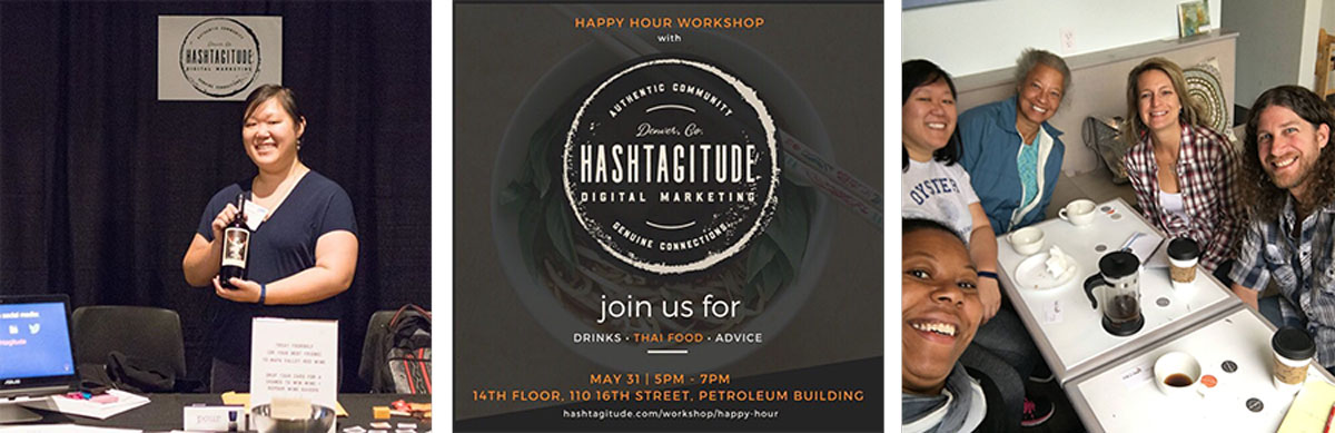 Whiskey and Red Small Business Branding and Logo Design Packages - Brand collection Mockup for Hashtagitude Digital Marketing - Denver, Colorado
